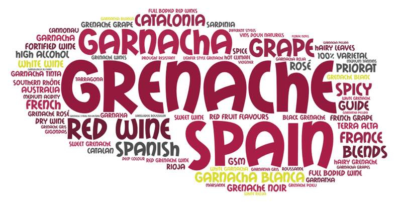 Grenache Garnacha word cloud by Wines With Attitude
